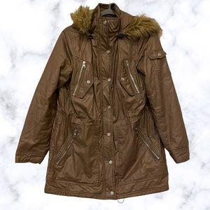 Steve Madden winter jacket medium brown faux leather fur hood zip pocket quilted